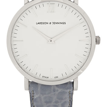 Larsson & Jennings - Croc-effect leather and silver-plated watch