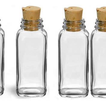 Four Glass Spice Jars Cork Top 4oz