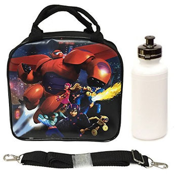 Disney Big Hero 6 Lunch Box Bag with Shoulder Strap and Water Bottle Featuring Hiro, Baymax Mech, Wasabi, Honey Lemon, Go Go, and Fred
