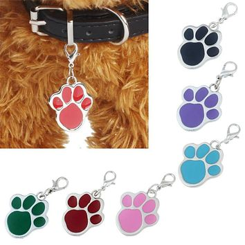 Pet Accessories Popular Footprints Puppy Rhinestone Pendant Lovely Pet Jewelry ID collar Tags 2017 puppy poodle paw tags sale