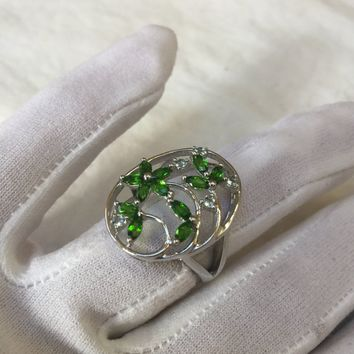 Vintage Handmade green Chrome Diopside and clear Flourite Filigree setting Sterling Silver gothic Ring