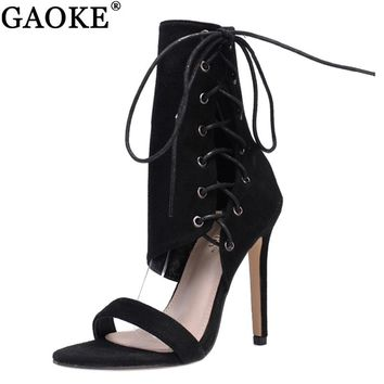 431a4b3c16741 Roman Shoes Women Sandals Sexy Gladiator Lace up Peep Toe Sandals High  Heels Woman Ankle Strap