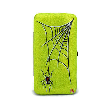 Hand Pinstriped Wallet, Lime Green Glitter Patent Vinyl Wallet, Rockabilly Wallet, Hot rod, Metalflake, Pinup, Sparkle Wallet