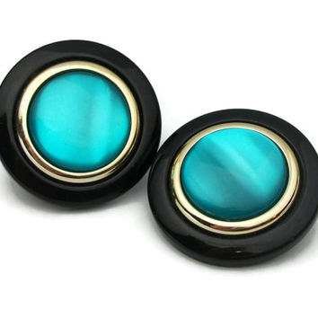 Big 1980s Round Black and Teal Plastic Disc Clip On Earrings - Large Shimmery Teal Aqua Blue Gold Tone Black Circles Button Clip Earrings