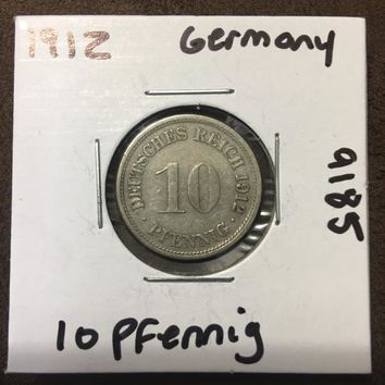 1912 German Empire 10 Pfennig Coin 9185
