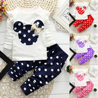 christmas 2016 winter style kids clothes Newborn baby clothing sets cotton Minnie casual suits 2pcs baby girl clothes baby set