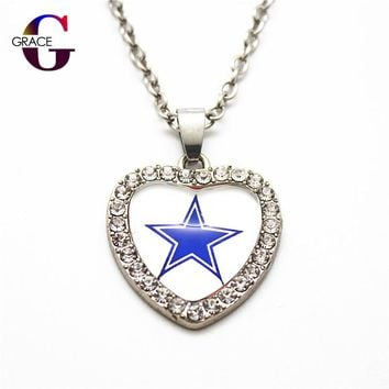 1pcs Fashion Dallas Cowboys Football Sports Charms Heart Crystal Necklace Pendant With 50cm Chains For Women Men Diy Jewelry