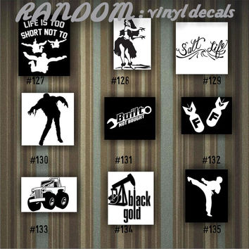 RANDOM vinyl decals - 127-135 - car decal - vinyl sticker - car window sticker - random designs - custom decals
