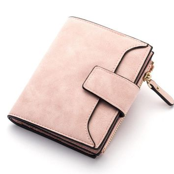 Women Stylish Candy Color Trifold Small Wallet