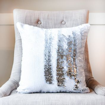 White & Silver Reversible Sequin Mermaid Pillow w/ Satin Back | Includes Pillow Insert