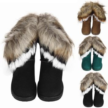 Fashion Women Warm High Ankle Winter Snow Boot Suede Rabbit Fur Tassel Shoes