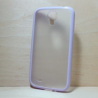 For Samsung Galaxy S4 Case Silicone Bumper and Translucent Frosted Hard Plastic Case - Lilac