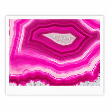 """Cafelab """"Bold Pink Agate """" Pink White Fine Art Gallery Print"""
