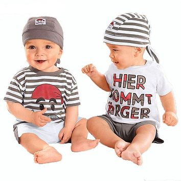 Baby Set New Summer Letter Baby Boy Suit Set Hat T-Shirt Pants Summer Outfit For Toddler