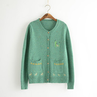 Printed Long-Sleeve Button Pocket Knitted Shirt