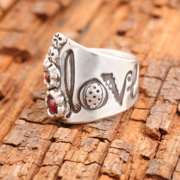 "Hand Made Sterling Silver Love Ring with Engraved ""LOVE"", Gemstones, Ladybug, Raised Flowers and Secret Braille Message"