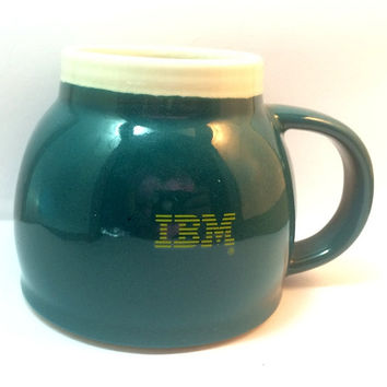 Vintage IBM Coffee Mug Stoneware A Brighter Tomorrow RareFree US Shipping Padded Base Gift No Chips Ships Worldwide Geek Nerd Computers Biz