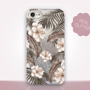 Monochrome Floral Glitter Phone Case-Transparent Case - Clear Case - Transparent iPhone 7 - Clear iPhone 7 Plus - Gel Case - iPhone 6/6S