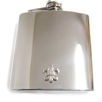 6 Oz. Stainless Steel Flask with Fleur De Lys Boy Scout Pendant