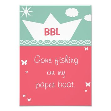 Funny girl room entry door sign coral paper boat photo print