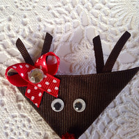 Rudolph the red nose reindeer, Christmas hair clip, Holiday hair bow, reindeer clip, antler bow, googley eye hair clip