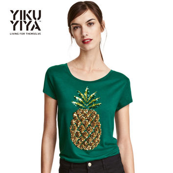 Pineapple Printed Sequin T-shirts Women 2018 Short Sleeve Green Pullover Tops Ladies O-neck Loose Casual Tees Female