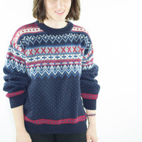 Vintage Sweater | 80s Oversize Pullover | Wool Fairisle Jumper | Large