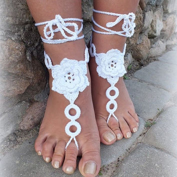 Crochet Barefoot Sandals, Nude shoes, Foot Jewelry, Beach Wedding, Sexy Anklet , Bellydance,Beach Footwear White Custom Color