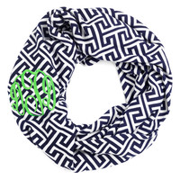 Navy Greek Key Infinity Scarf