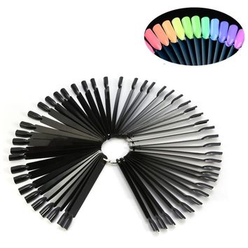 50Pcs Black False Nail Art Display Fan Shape Wheel Pallet Nail Tips Board Practice Fold-able DIY Showing Nail Polish Gel Glitter