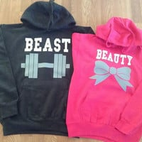 Free//Fast Shipping for US Beauty with Bow and  Beast with Dumbbell Couples Hoodies:Charcoal and Hot Pink(white decal)