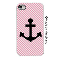 iPhone Case - Anchor- Pink Stripe - Modern - nautical - pirate