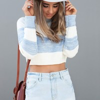 Agness Crop Jumper - blue and cream stripe knit sweater