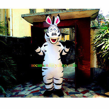 Marty Zebra Cartoon Mascot Costume, Cosplay Costumes, Animal Costume, Costume for Adults,Clothing, Performing Costume, Party Costumes