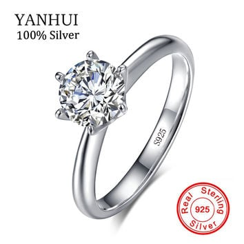 Authentic Jewelry 100% Original Solid 925 Silver Rings Set 7mm 1.5 Carat SONA CZ Stone Engagement Wedding Ring For Women R-121