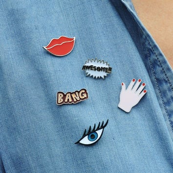 1 pcs free shipping sexy lips eyes badges palm lady brooch cartoon pins letters metal brooches