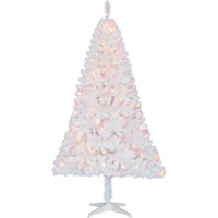 Walmart: Holiday Time Pre-Lit 6.5' Madison Pine Artificial Christmas Tree, White, Multi-Color Lights