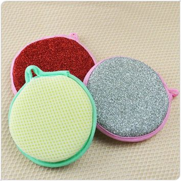 Round Sponge Wire Microfiber Dish Cloth Cleaning