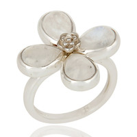 Natural Rainbow Moonstone Sterling Silver Flower Cocktail Ring