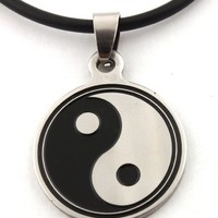 Black and Silvertone Stainless Steel Yin - Yang Pendant with a 20 Inch Rubber Necklace Clasp Chain