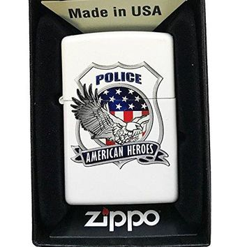 "Zippo Custom Lighter - ""American Heroes"" Blue Line Police Support w/ Eagle - White Matte"