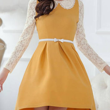 Lace Panel Peter Pan Collar Long Sleeve Belted Skater Dress