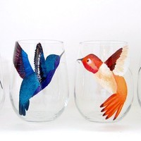 Hummingbird Party Stemless Wine Glasses Set of 4 by SwirlyGarden
