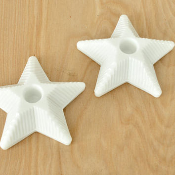 Pair of Vintage Milk Glass Star Candle Holders