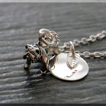 Silver English Bulldog Charm Necklace, Initial Charm Necklace, Personalized, Dog Lover Charm, Bulldog Pendant, English Bulldog Charm Jewelry