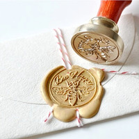 Bee Happy Gold Plated Wax Seal Stamp x 1