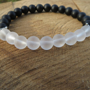 Matte Black Onyx Matte White Clear Crystal Bracelet, Yin Yang Bracelet,  Black and White Bracelet