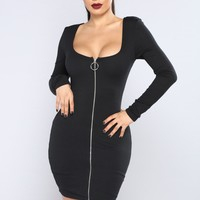 Out Of Time Ribbed Dress - Black