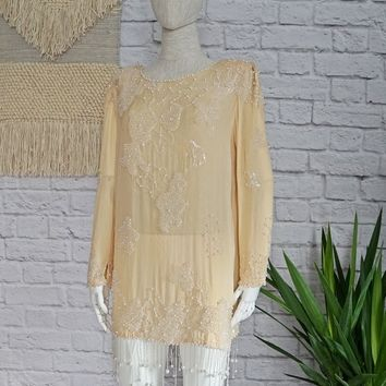 Vintage 1980's Silk + Pearl Beaded Evening Tunic