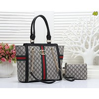 Gucci Women Fashion Leather Satchel Bag Shoulder Bag Handbag Crossbody Set Two Piece 4#